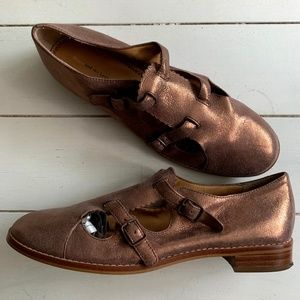 Anthropologie Rose Gold Buckle Shoes Size 9